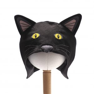 Front view of Black Cat Hood. The hood is made of black fabric with pink and grey ears, yellow eyes and a padded grey nose. There are 3 rows of white whiskers stitched either side of the nose.