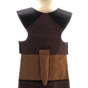 Back view of floppy eared dog tabard. Black shoulders and dark brown back. Lower edge of tabard is honey-coloured with black and dark brown bands at the bottom, decorated with black and white ric rac braid.