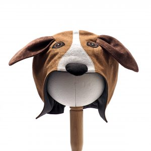 Front view of Floppy Eared Dog Hood. Hood is honey-coloured with dark brown ears. There a white blaze down the centre front with a padded black nose. The eyes are black and dark brown.