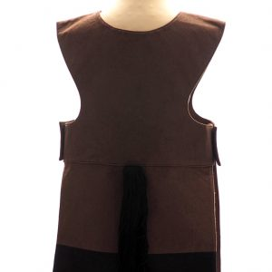 Brown horse tabard. Back view. Dark brown tabard with black and grey bands decorated with black ric rac braid at the bottom. Black tail at centre back.
