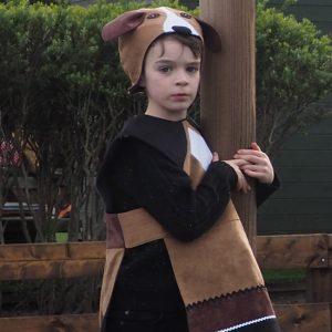 A boy wearing floppy eared dog costume.